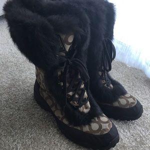 Coach Jennie Rabbit Fur Boots